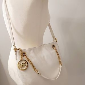 NWOT MICHAEL KORS WHITE LEATHER + GOLD CHAIN BAG